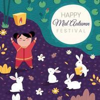 criança comemorando festival do meio do outono vetor