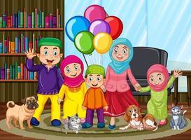 desenho animado da família muçulmana em casa vetor