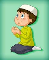 menino do oriente médio orando vetor