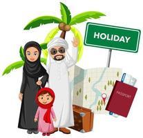 família do Oriente Médio em viagem de férias vetor