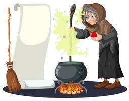 bruxa velha com caldeirão mágico e vassoura vetor