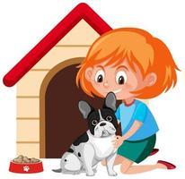 menina acariciando um cachorro fofo vetor