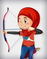 personagem garota arqueira muçulmana vetor