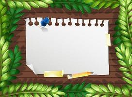 folhagem e modelo de banner de papel em branco