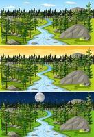paisagem natural em diferentes momentos do dia vetor