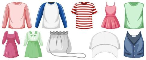 conjunto de roupas de desenho animado vetor