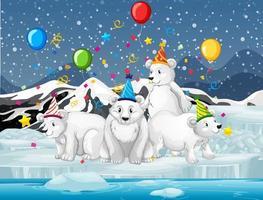 grupo de ursos polares festejando ao ar livre vetor