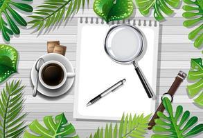 vista de mesa com café e objetos de escritório