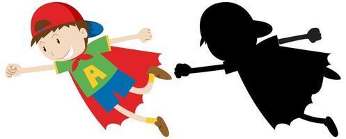 menino com fantasia de super-herói vetor