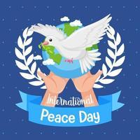 banner do dia internacional da paz com pomba vetor