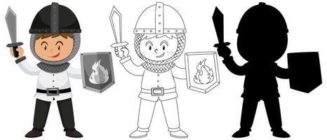 conjunto de menino vestindo uma fantasia de cavaleiro vetor