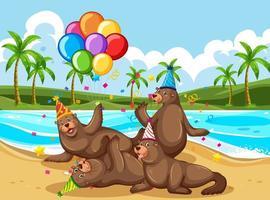 focas festejando ao ar livre vetor