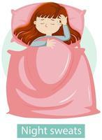 menina com sintomas de suores noturnos vetor