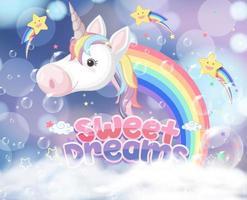 unicórnio mágico com desenho de arco-íris