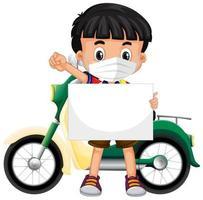 menino segurando uma faixa em branco vetor