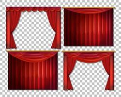conjunto luxuoso de cortinas vermelhas vetor