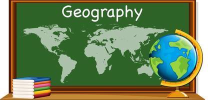 assunto de geografia com mapa mundial e livros vetor