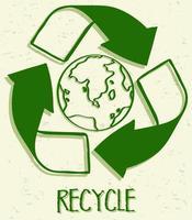 um ícone de reciclagem em fundo branco vetor