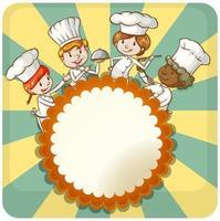 crianças cozinhando moldura redonda. vetor