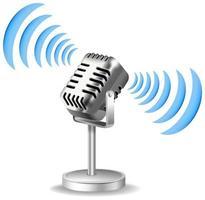 design de microfone vintage com onda sonora vetor