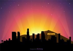 Vetor livre hollywood skyline ao pôr do sol