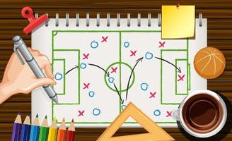 mão escrevendo táticas de jogo de basquete vetor