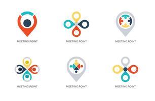 Logotipos de pontos de reunião vetoriais gratuitos vetor