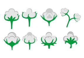 Vetor de ícones de flores de algodão grátis