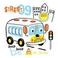 ônibus de desenho animado na estrada vetor