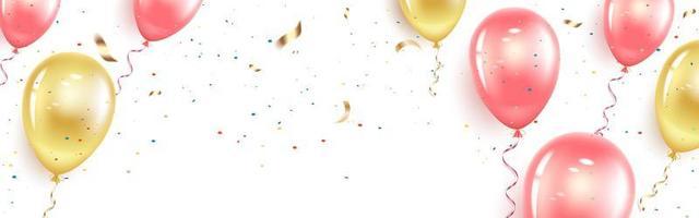 banner horizontal festivo com balões