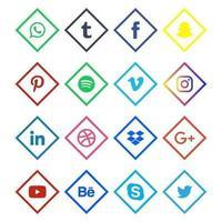 ícones de mídia social coloridos lineares