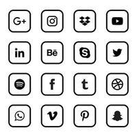 ícones redondos lineares de mídia social vetor