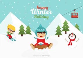 Crianças brincalhão de vetores livres na cena de inverno