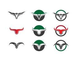 conjunto de imagens de logotipo de cabeça de touro vetor
