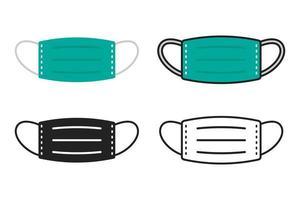 conjunto de ícones de máscara facial vetor