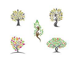 conjunto de imagens do logotipo da árvore vetor