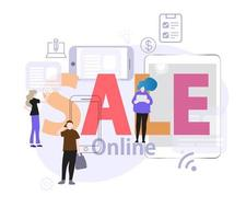 modelo de apresentação de slides de venda online vetor