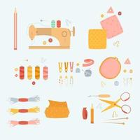 conjunto de acessórios de costura fofos vetor