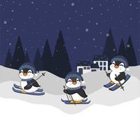 pequenos pinguins esquiando para o projeto da celebração do inverno