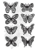 Conjunto de desenho e desenho de borboleta para tatuagem vetor