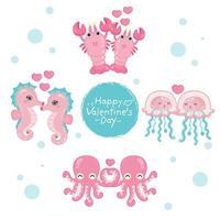 conjunto de animais marinhos para a celebração do dia dos namorados vetor