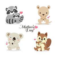 conjunto de animais fofos para a celebração do dia das mães vetor