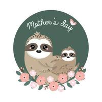 mãe preguiça e bebê para a celebração do dia das mães vetor
