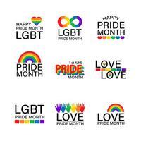 Conjunto de ícones lgbtq e mês do orgulho vetor