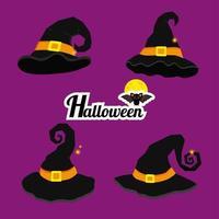 chapéus de bruxa de desenho animado para a celebração do halloween vetor
