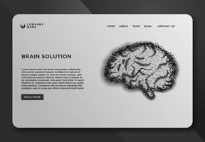 modelo de design de página da web com cérebro vetor