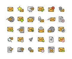 e-mail e e-mail preenchido conjunto de ícones de contorno vetor