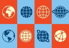Ícones do globo vetor
