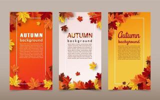 banners de fundo de folha de bordo de outono