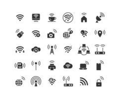 conjunto de ícones sólidos de rede sem fio vetor